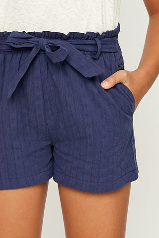 navy paperbag shorts