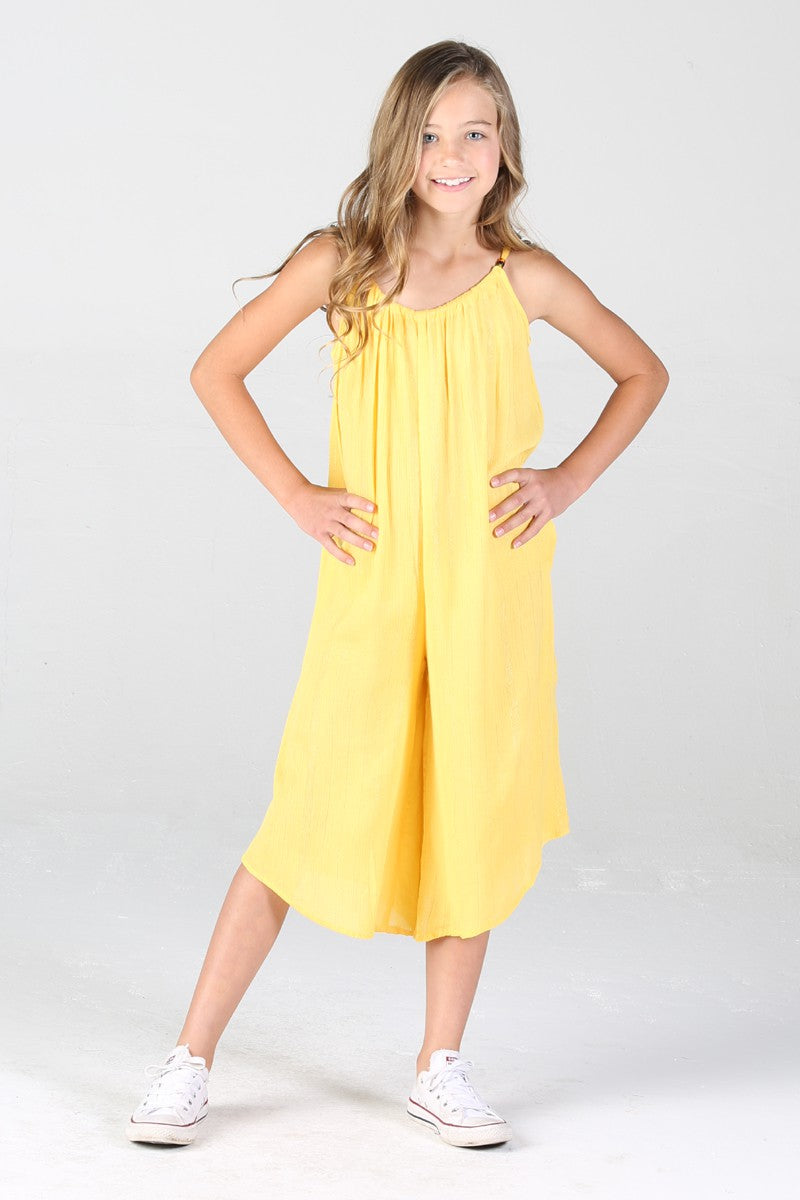 YELLOW PULL ON JUMPSUIT
