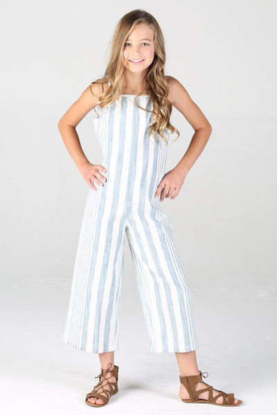 WHITE/BLUE PULL ON JUMPSUIT