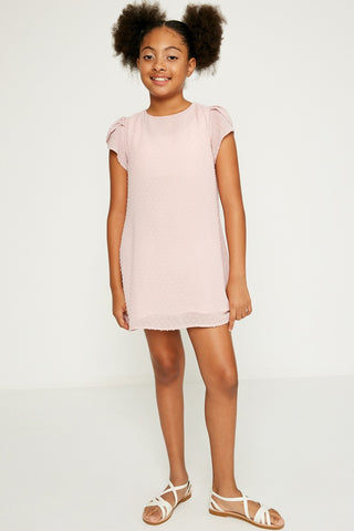 pink textured shift dress
