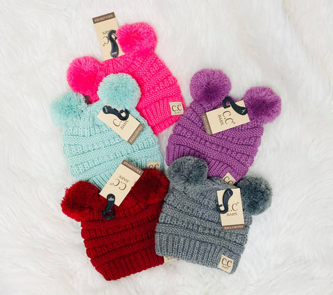 baby double pom beanies (more colors)