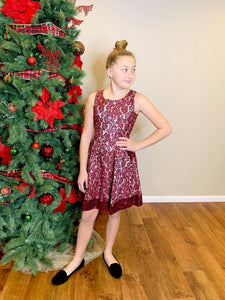 SEQUIN BURGUNDY DRESS WITH POCKETS