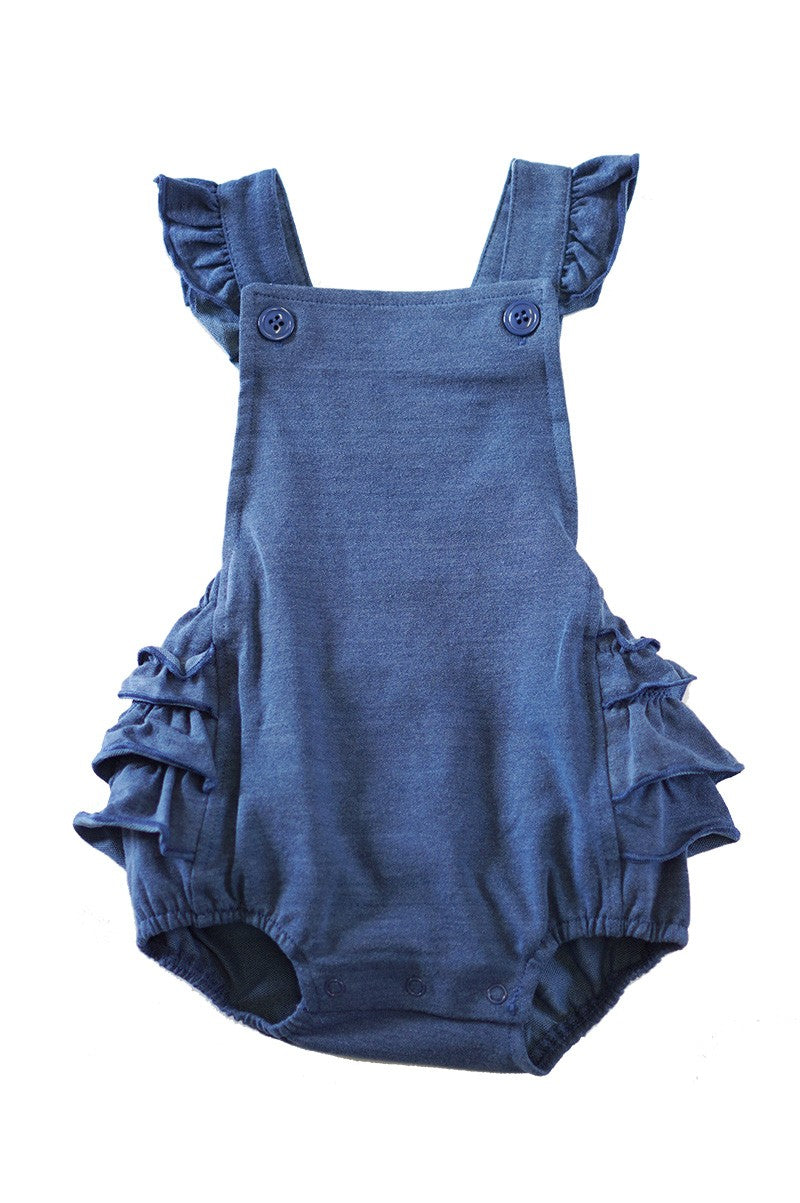 DENIM KNIT RUFFLE BUBBLE