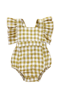 MUSTARD GINGHAM FLUTTER SLEEVE BUBBLE