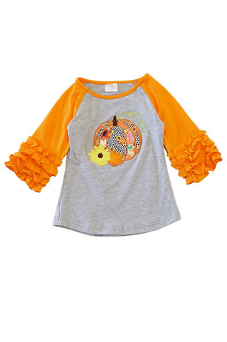 PUMPKIN EMBROIDERY ORANGE SHIRT