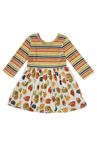 RAINBOW STRIPE PUMPKIN DRESS