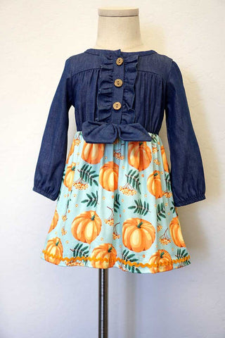 PUMPKIN DENIM TIE FRONT DRESS