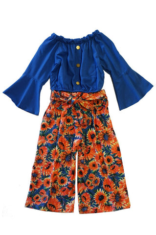 BLUE BELL TOP W/ SUNFLOWER PANT SET