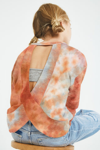jade and rust open back sweater