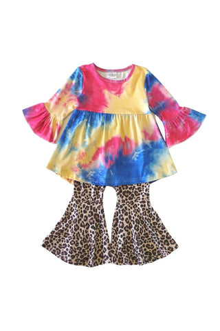 tie dye tunic with leopard bell pants