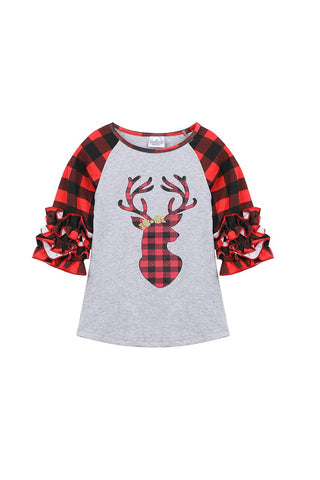 buffalo plaid reindeer ruffle top