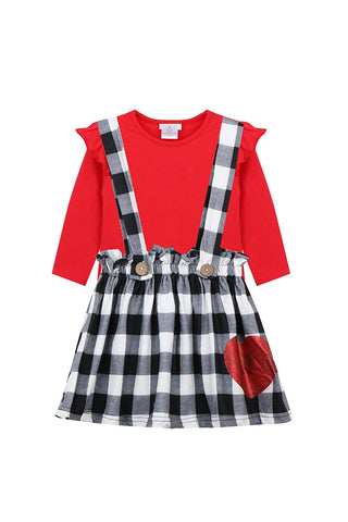 red black and white plaid suspender skirt set