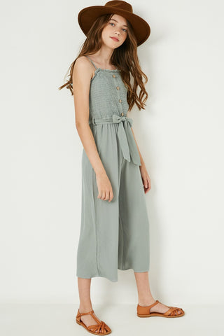 sage textured smock button up jumpsuit