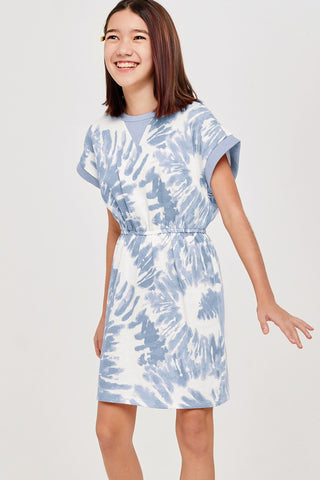 blue tie dye french terry dress
