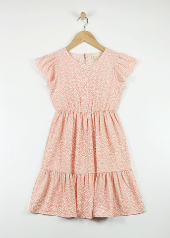 peach frill sleeve flounce dress