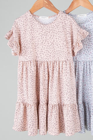 peach leopard flutter sleeve tiered dress