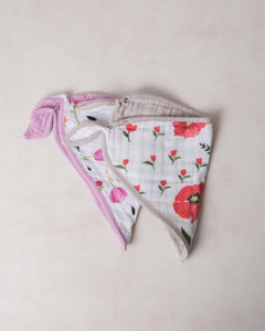 SUMMER POPPY COTTON MUSLIN BANDANA BIB 2 PC SET