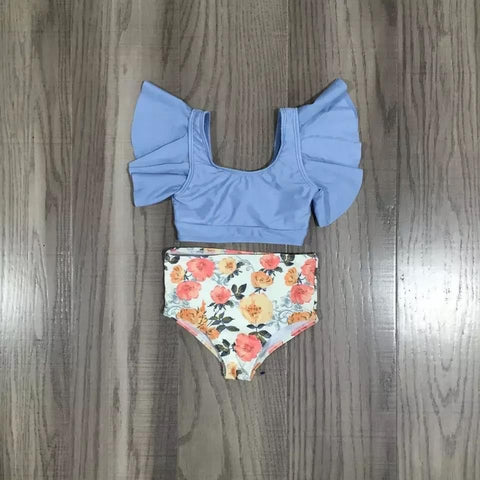 alaina blue floral 2 piece swimsuit