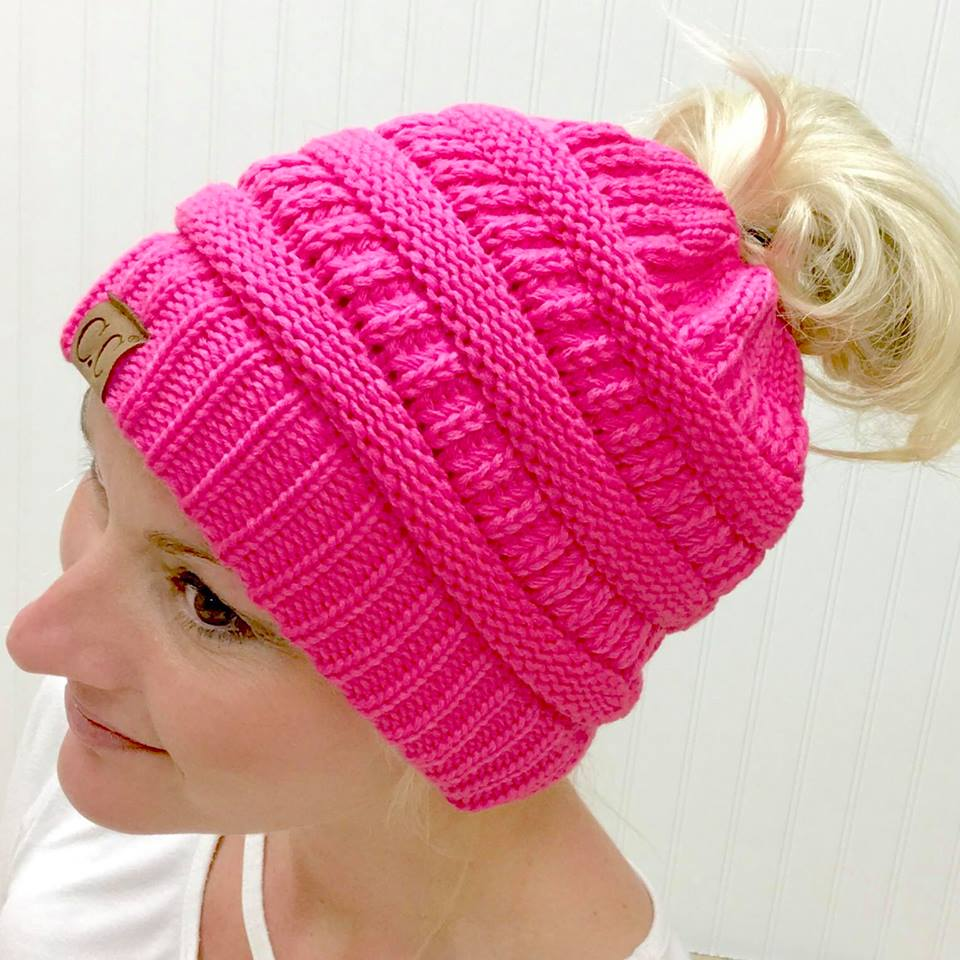 NEW CANDY PINK MESSY BUN BEANIE ~ ADULT/JUNIOR