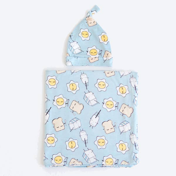 BLUE BREAKFAST BUDDIES SWADDLE AND HAT SET (9341)
