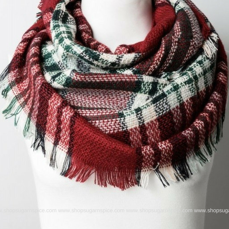 RED/GREEN KIDS BLANKET SCARF