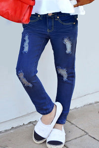 BLUEBERRY DISTRESSED JEAN
