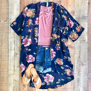THE SMELL OF SUMMER FLORAL NAVY KIMONO