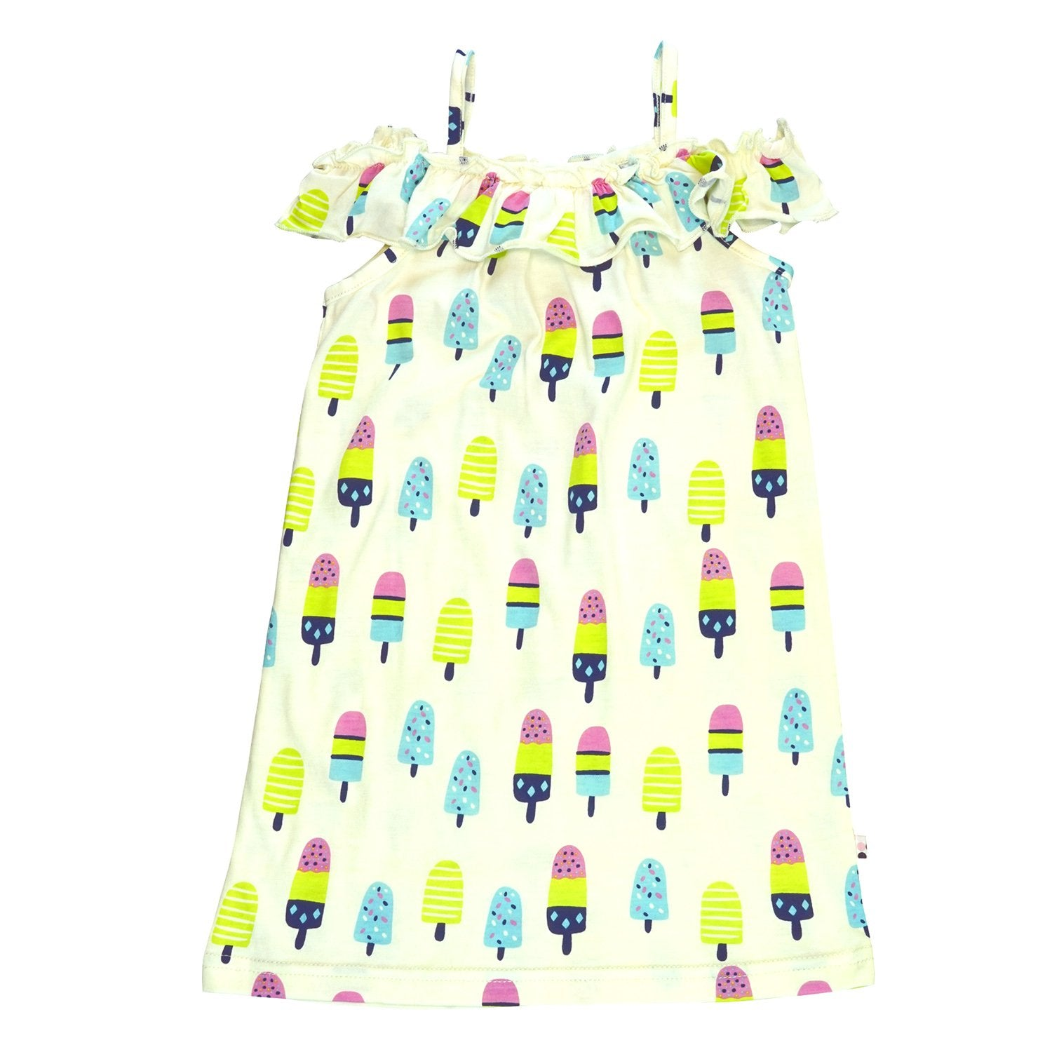 POPCICLES RUFFLE SHOULDER DRESS