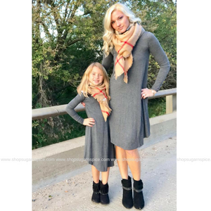 WEEKEND GO GETTER GREY FLOWY DRESS ~ Kid and Adult Sizes