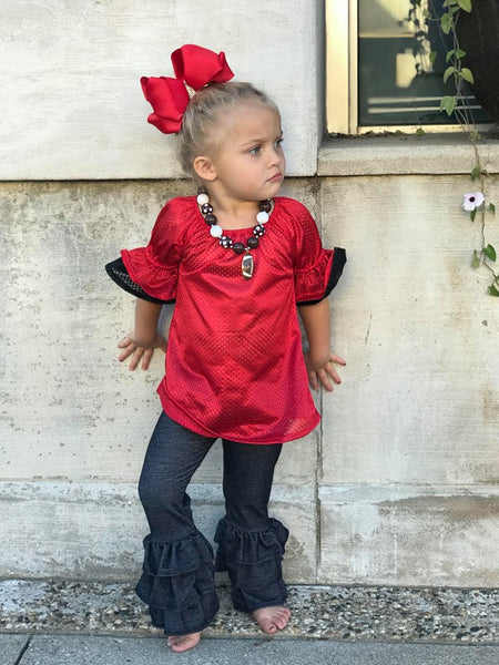 RED AND BLACK TODDLER RUFFLE JERSEY
