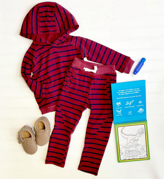 BURGUNDY STRIPE BENGDI HOODIE AND PANT SET