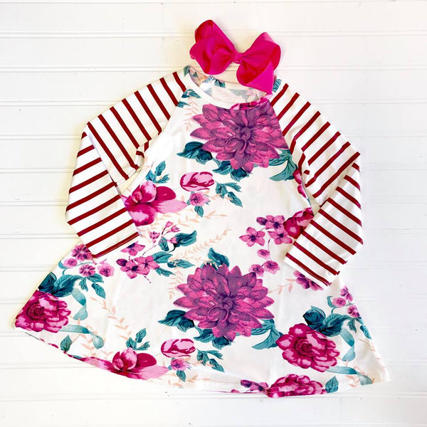 SIENNA FLORAL FLARE DRESS W/ STRIPE