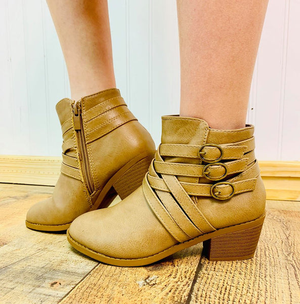 CAMILA TAUPE STRAPPY BOOTIES