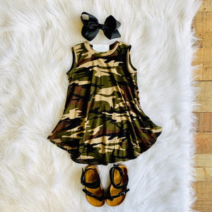 TODDLER CAMO SLEEVELESS DRESS