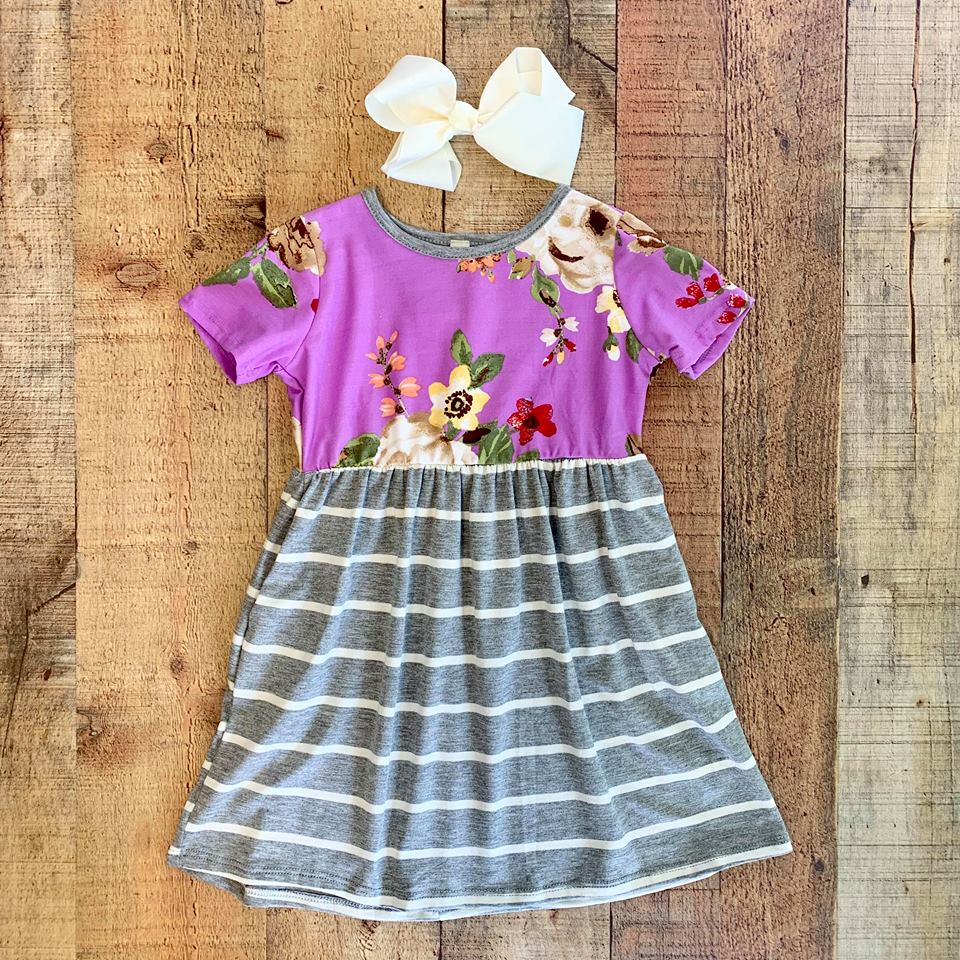 TODDLER FLORAL LAVENDER SHORT SLEEVE DRESS