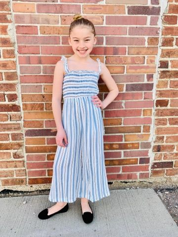 DUSTY BLUE STRIPE SMOCKED PALAZZO JUMPER