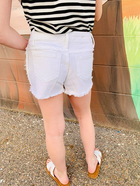 GIRLS WHITE DENIM SHORTS