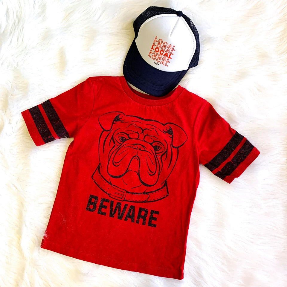 BEWARE OF DOG FOOTBALL TEE