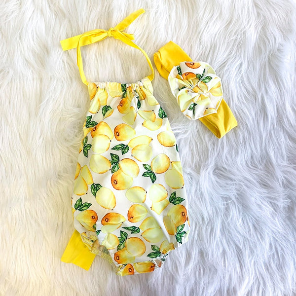 LEMON BOW BACK TIE ROMPER W/ HEADBAND