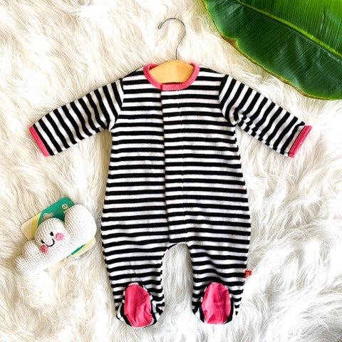 PINK BLACK AND WHITE STRIPE VELOUR MAGNETIC FOOTIE