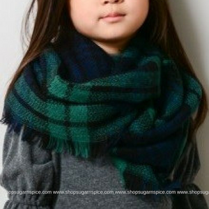 GREEN NAVY KIDS BLANKET SCARF
