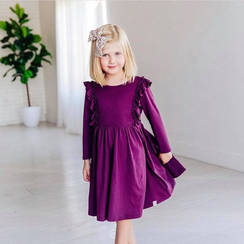 PLUM PURPLE TWIRL DRESS WITH RUFFLES