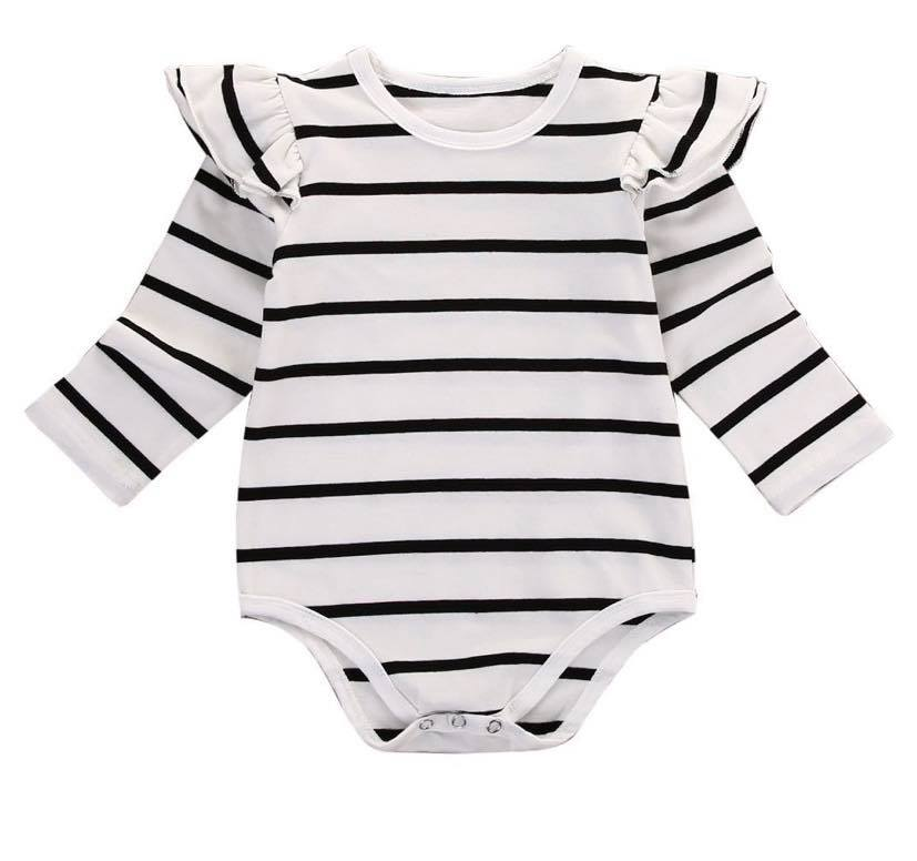 EVERLY STRIPED LONG SLEEVE ROMPER