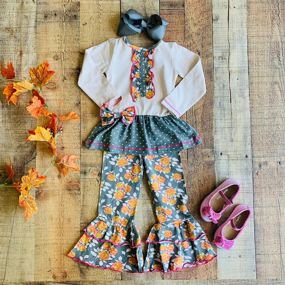 FALL FLORAL & POLKA DOTS TUNIC & LEGGINGS