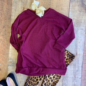 LIBBY BURGUNDY TODDLER SWEATER