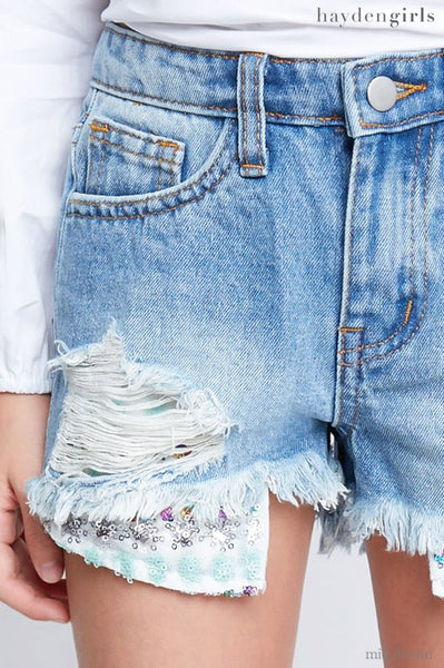 DISTRESSED DENIM SHORTS W/ SEQUINS