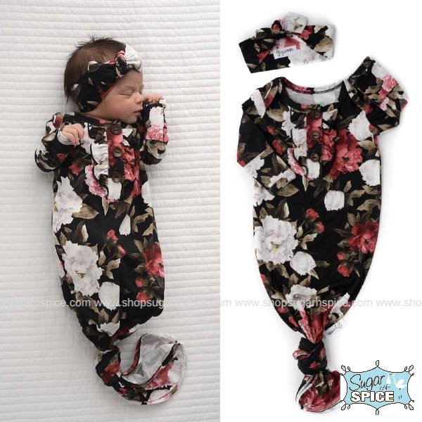 EMMA FLORAL KNOTTED BUTTON NEWBORN GOWN & HEADBAND