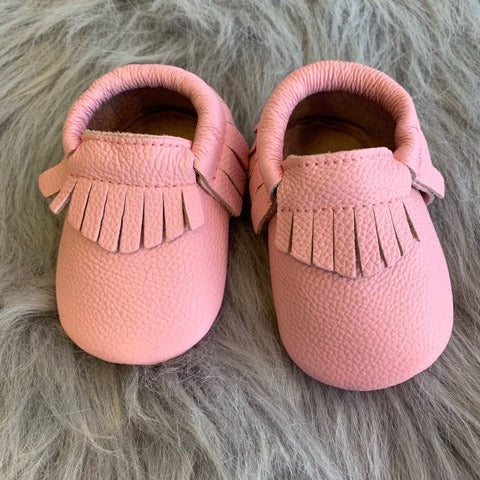 LIGHT PINK LEATHER MOCCASINS