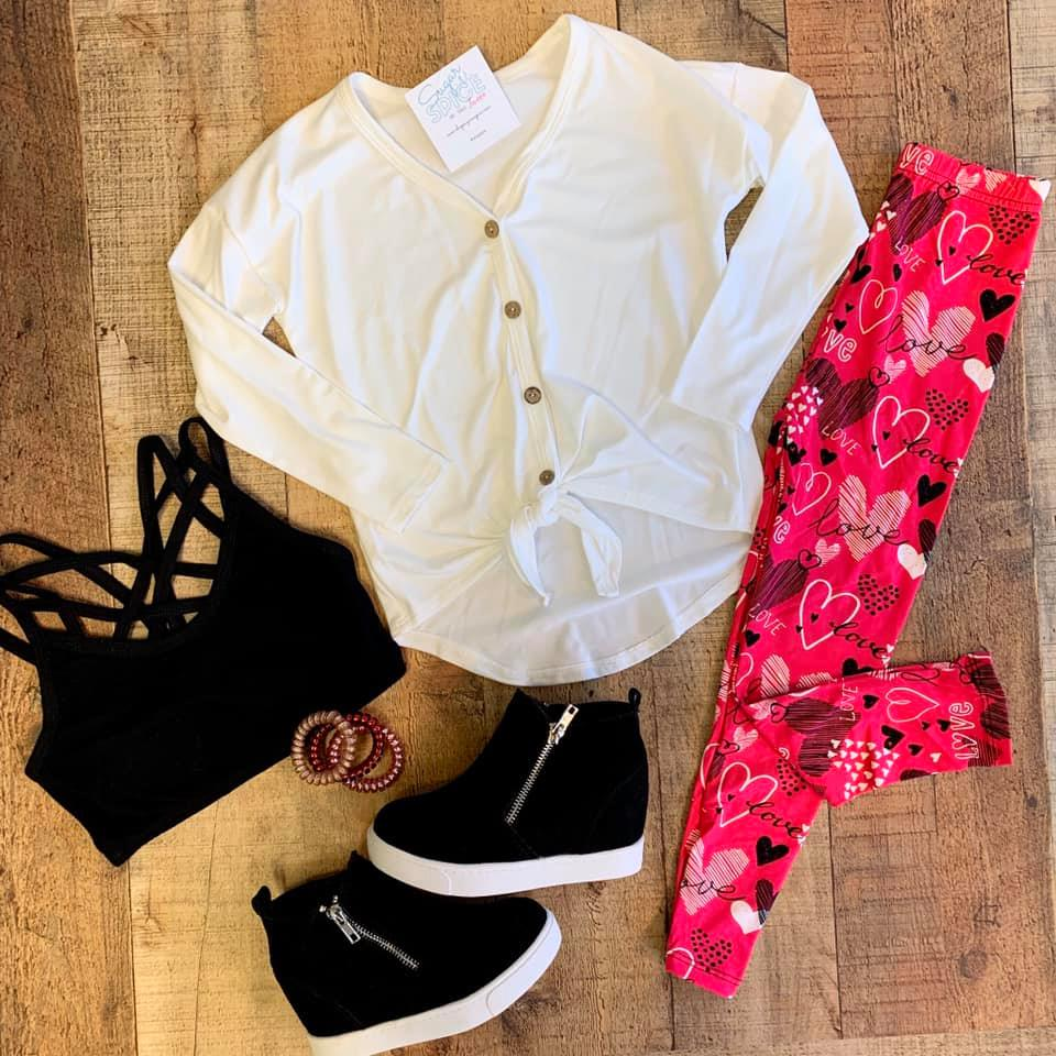 IVORY LONG SLEEVE TIE FRONT TOP