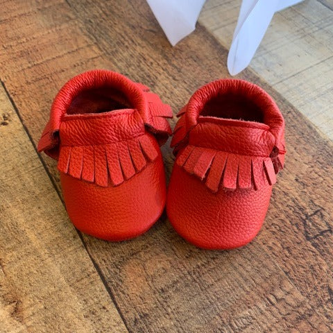 HIBISCUS LEATHER BABY MOCCASINS